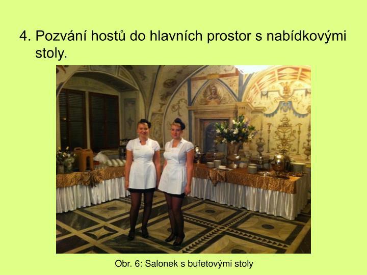 4. Pozvání hostů do hlavních prostor s nabídkovými