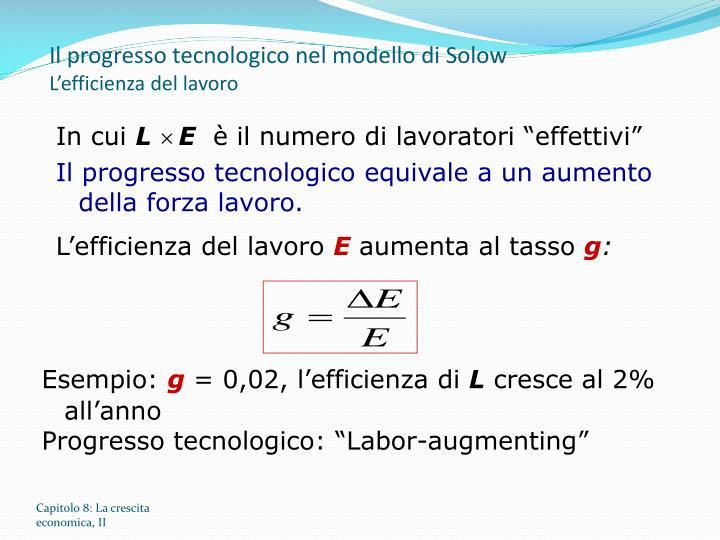 Il progresso tecnologico nel modello di Solow