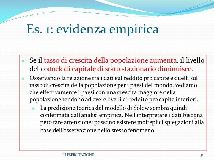 Es. 1: evidenza empirica