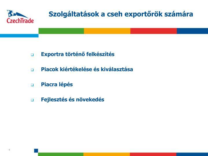 Szolgáltatások a cseh exportőrök