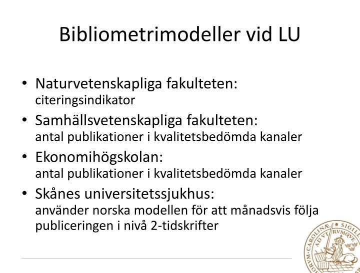 Bibliometrimodeller