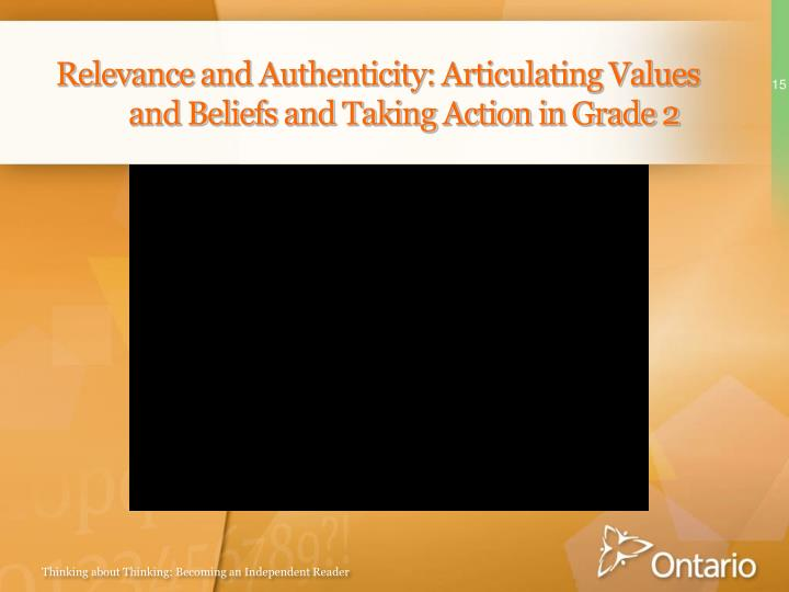 Relevance and Authenticity: Articulating Values