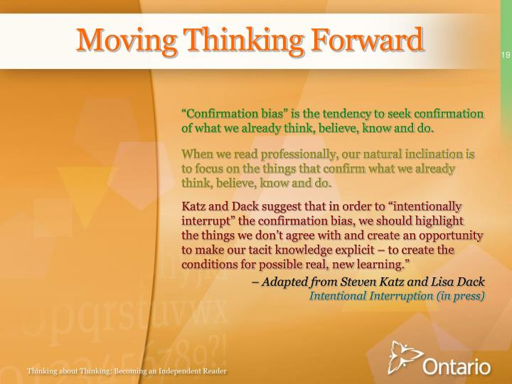 Moving Thinking Forward