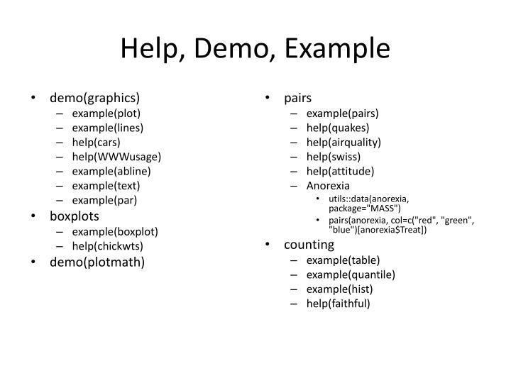 Help, Demo, Example