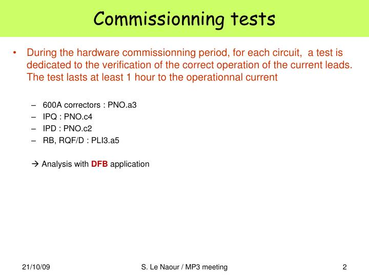 Commissionning tests