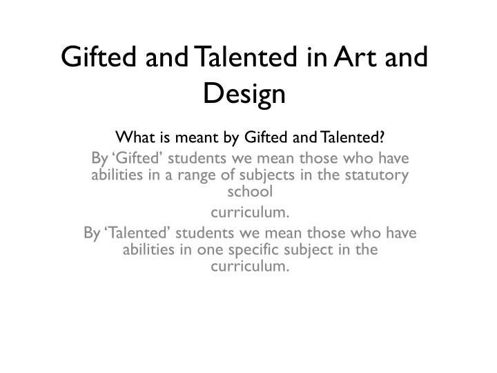 classification of gifted and talented students essay