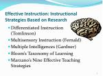 effective instruction instructional strategies b ased on research