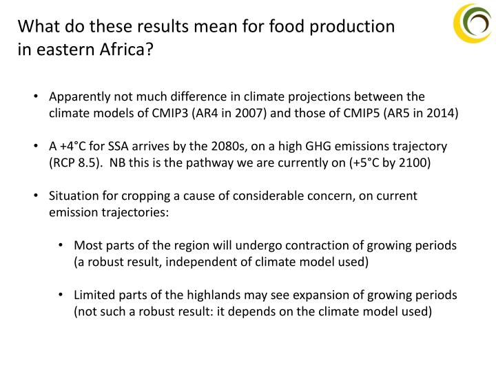 What do these results mean for food production in eastern Africa?
