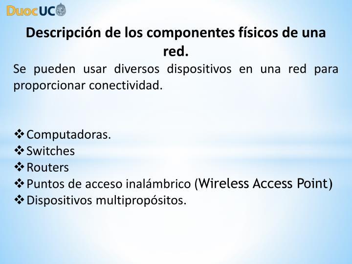Descripción de los componentes físicos de una red.