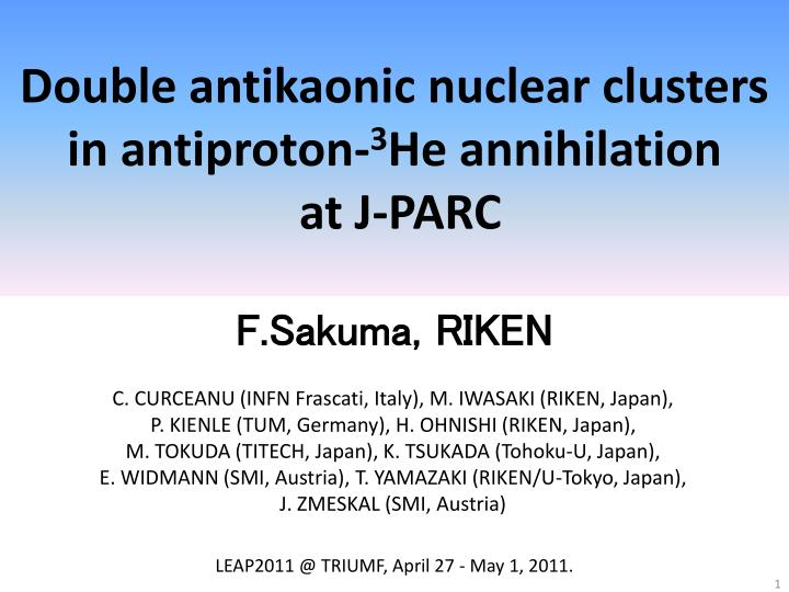 Double antikaonic nuclear clusters in antiproton 3 he annihilation at j parc