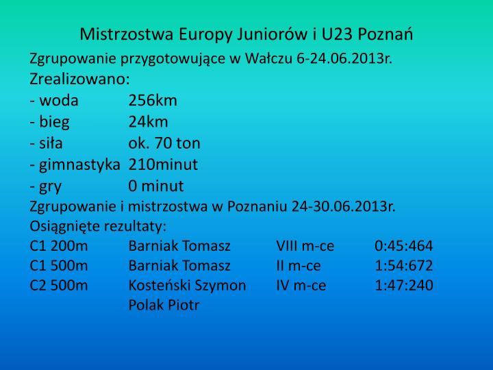 Mistrzostwa Europy Juniorów i U23 Poznań
