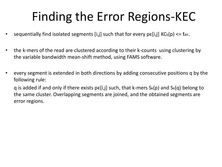 Finding the Error Regions-KEC