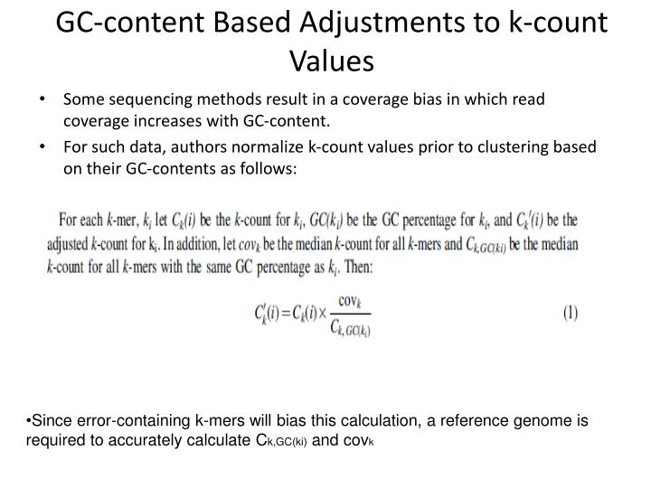 GC-content Based Adjustments to k-count Values