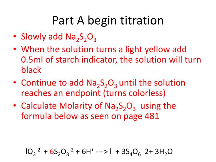 Part A begin titration