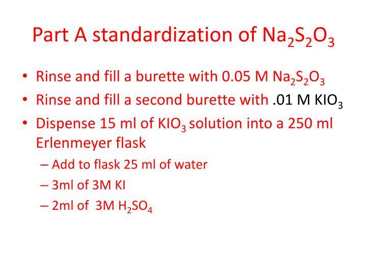 Part A standardization of Na