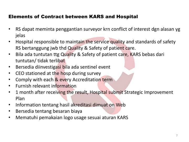 Elements of Contract between KARS and Hospital