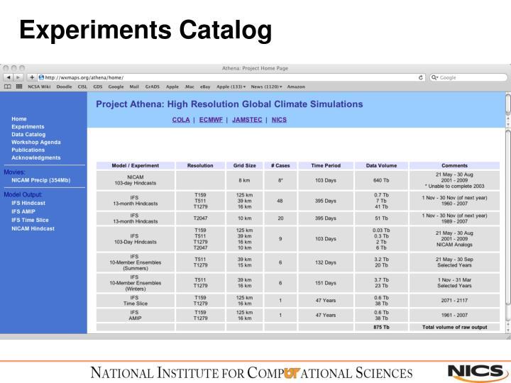 Experiments Catalog