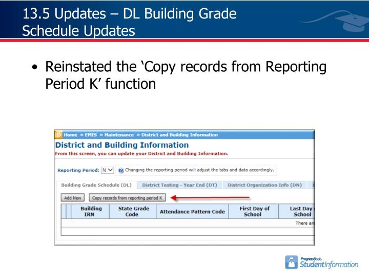 13.5 Updates – DL Building Grade Schedule Updates
