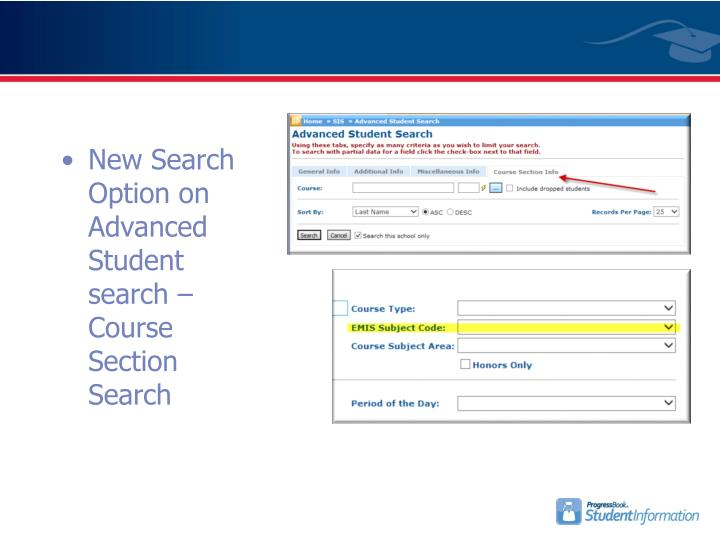 New Search Option on Advanced Student search – Course Section Search