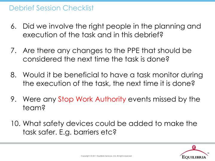 Debrief Session Checklist