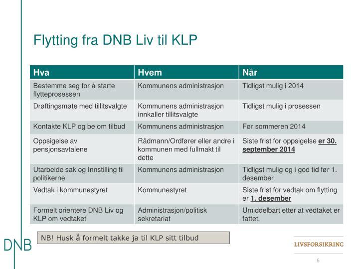 Flytting fra DNB Liv til KLP