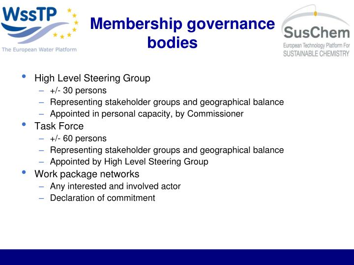 Membership governance bodies