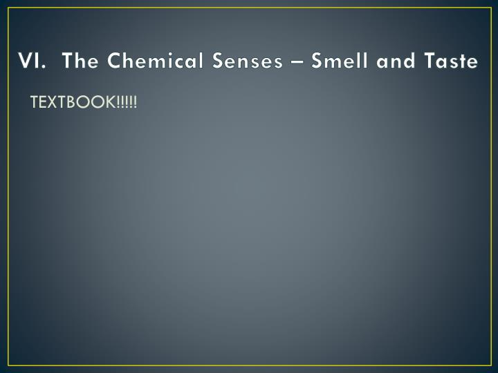 VI.  The Chemical Senses – Smell and Taste