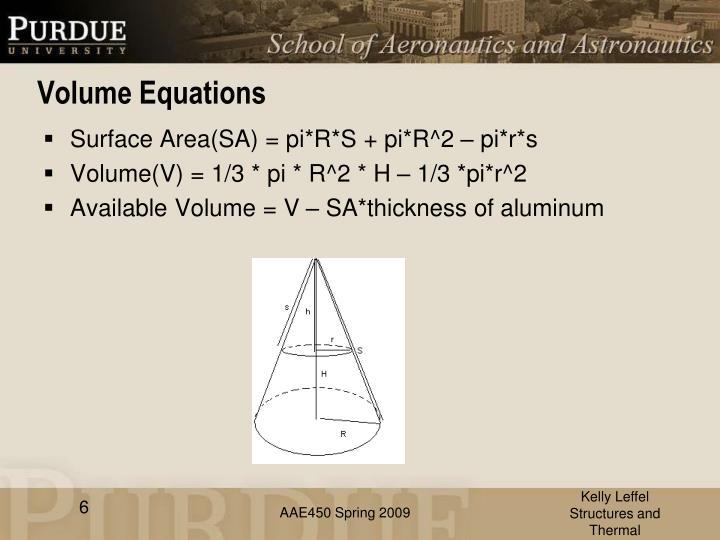 Volume Equations