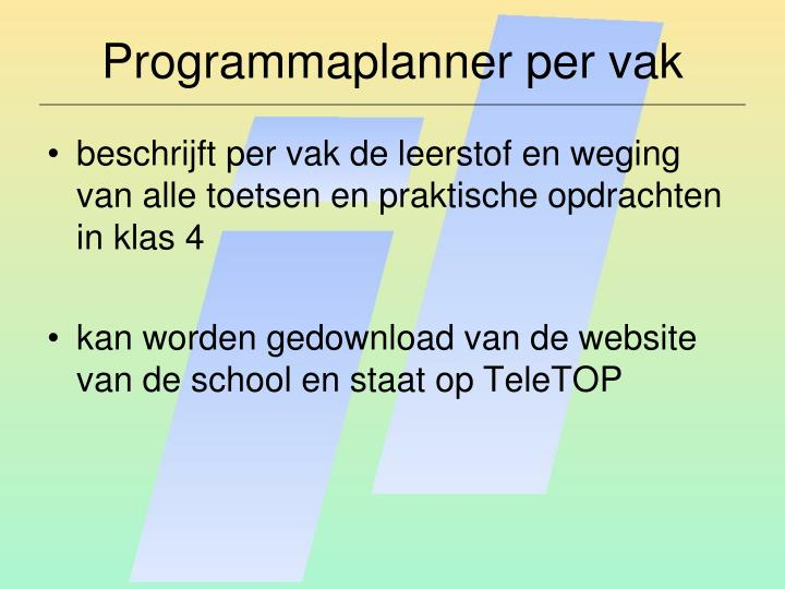 Programmaplanner per vak