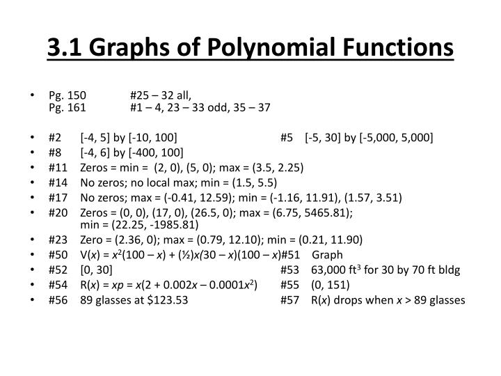 3 1 graphs of polynomial functions