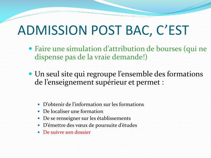Admission post bac c est