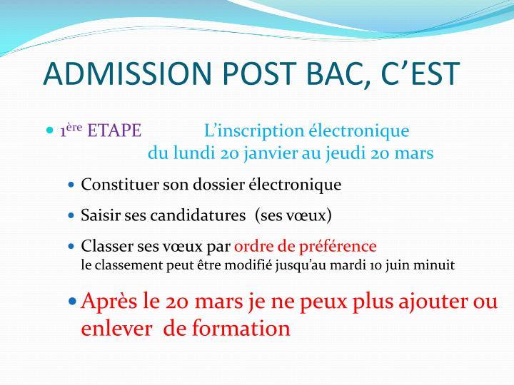 ADMISSION POST BAC, C'EST