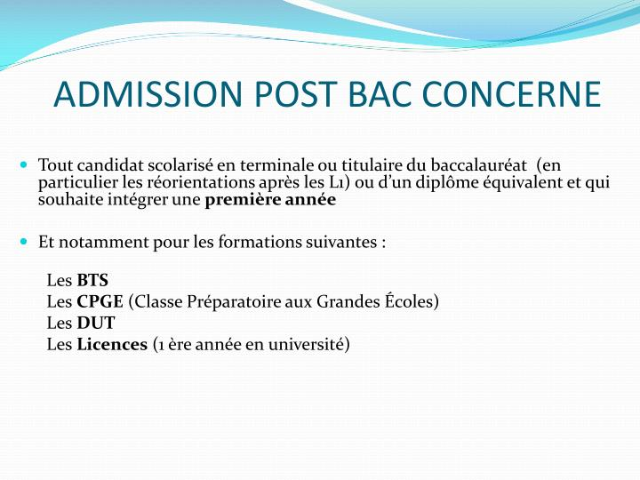Admission post bac concerne