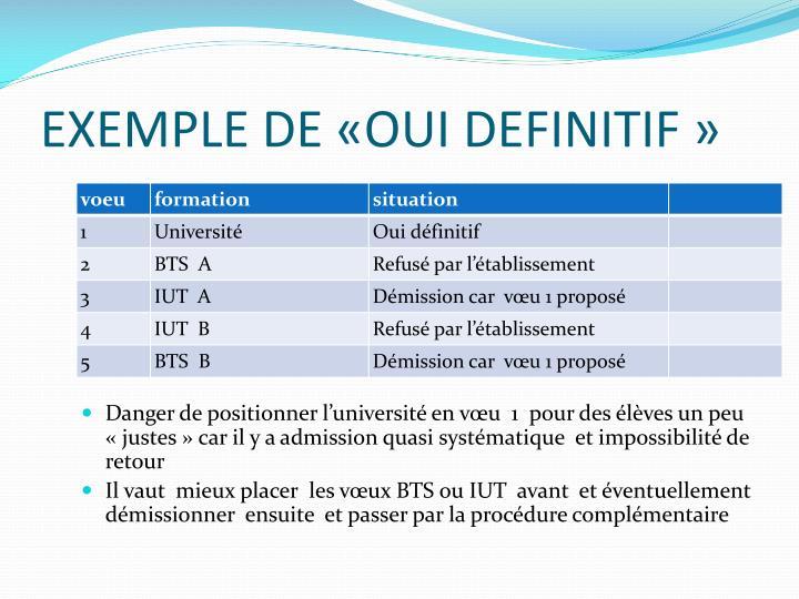 EXEMPLE DE «OUI DEFINITIF»
