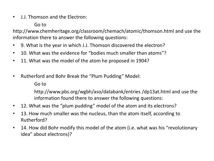 J.J. Thomson and the Electron: