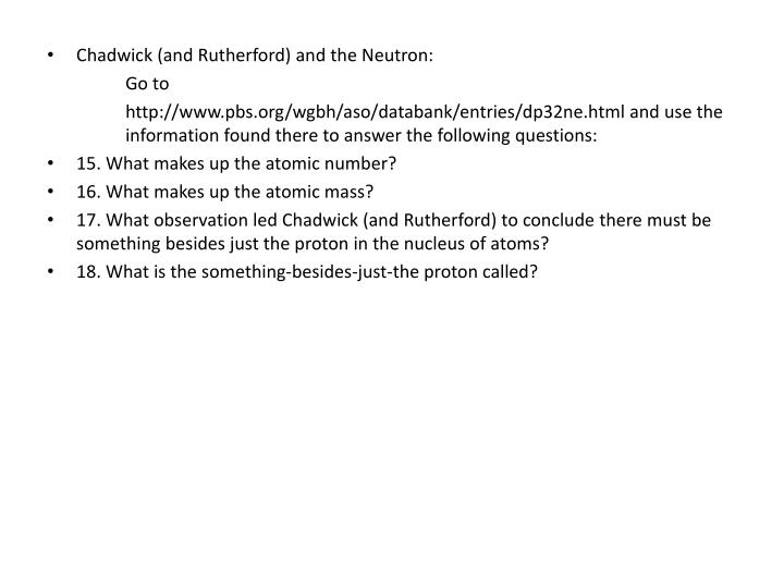 Chadwick (and Rutherford) and the Neutron: