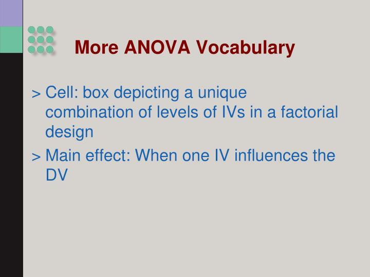 More ANOVA Vocabulary