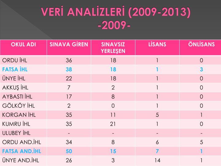VERİ ANALİZLERİ (2009-2013)