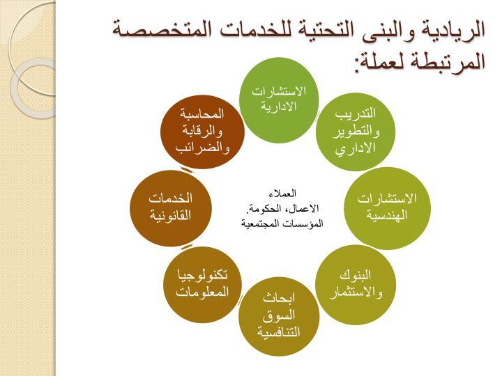 الريادية والبنى التحتية للخدمات المتخصصة المرتبطة لعملة: