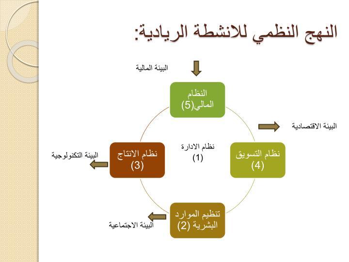 النهج النظمي للانشطة الريادية: