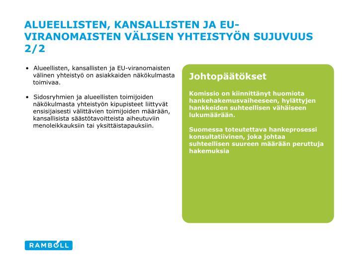 Alueellisten, kansallisten ja EU-viranomaisten välisen yhteistyön sujuvuus 2/2
