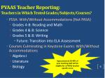 pvaas teacher reporting t eachers in which tested grades subjects courses