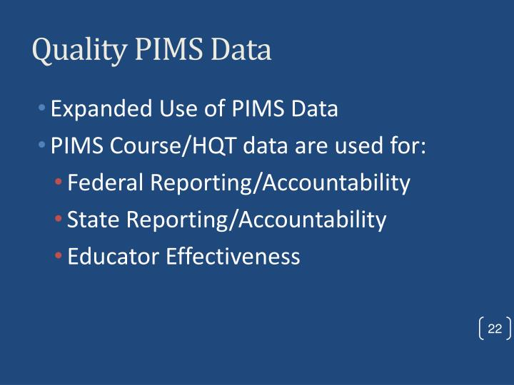 Quality PIMS Data