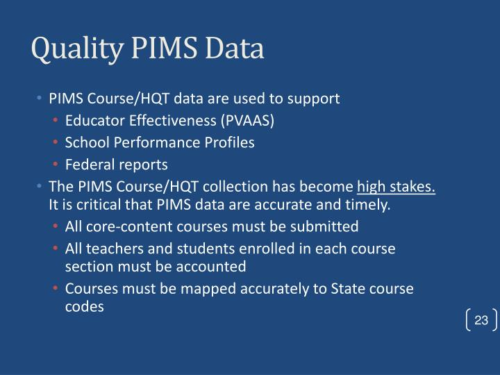 Quality PIMS Data