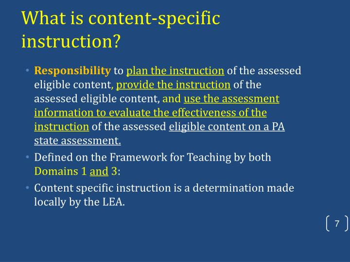 What is content-specific instruction?