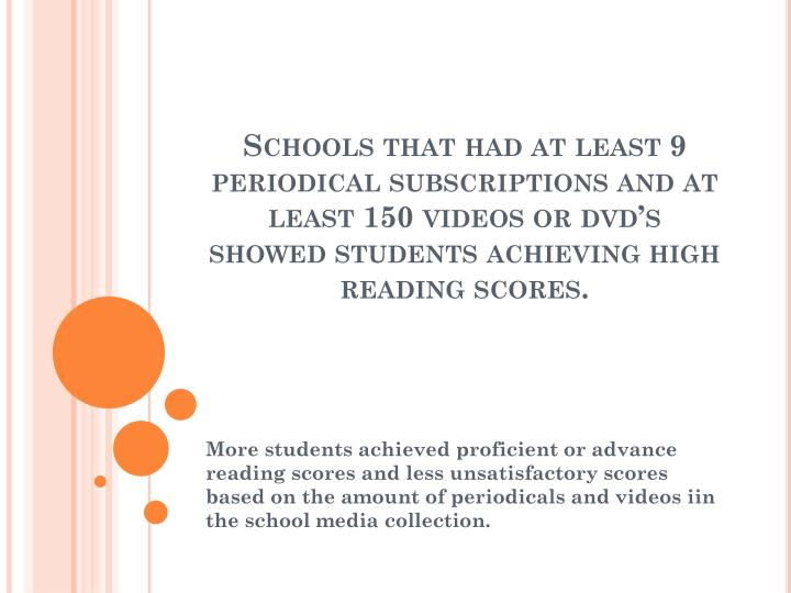Schools that had at least 9 periodical subscriptions and at least 150 videos or