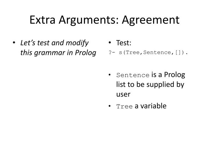 Let's test and modify this grammar in Prolog