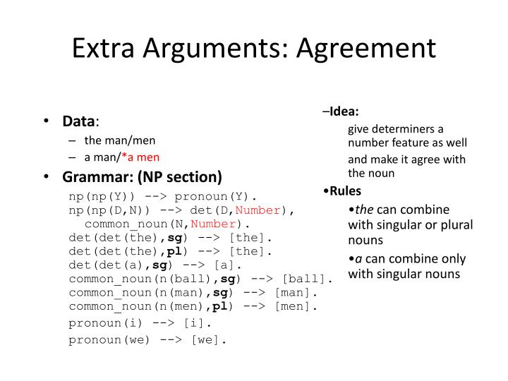 Extra Arguments: Agreement