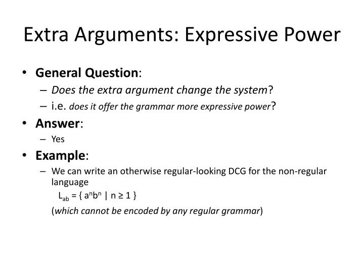 Extra Arguments: Expressive Power