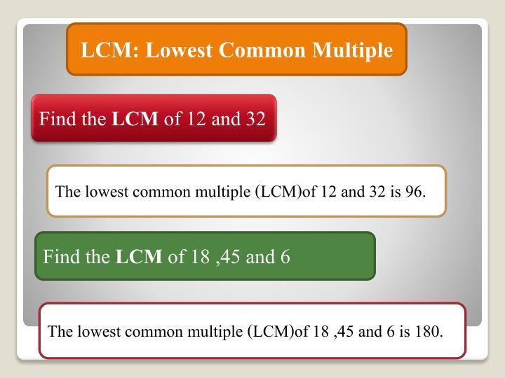 LCM: Lowest Common Multiple